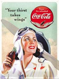 Coca Cola Your thirst takes wings  Metalen wandbord in reliëf 30 x 40 cm