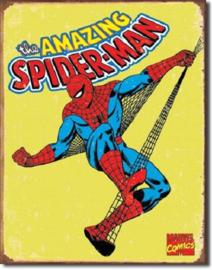 Spiderman Retro.  Metalen wandbord 31,5 x 40,5 cm.