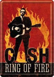 Johnny Cash Ring of Fire.  Metalen Postcard 10 x 14 cm.