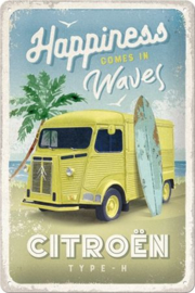 Citroen Type H - Happiness Comes In Waves. Metalen wandbord in reliëf 20 x 30 cm