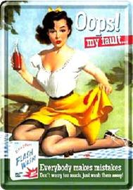 Oops ! my fault. Metalen Postcard 10  x 14 cm.