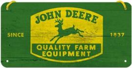 John Deere Logo Metalen wandbord in reliëf 10 x 20 cm.