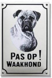 Pas op Waakhond Boxer Emaille bordje 20 x 30 cm.