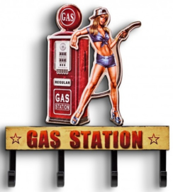 Gas Station Pin Up .  Metalen wandhaken.