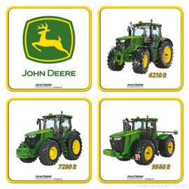 John Deere Onderzetters 9 x 9 cm.(3)  4 stuks.