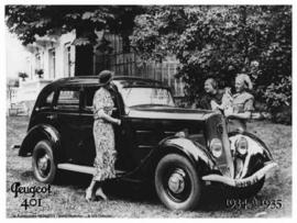 Peugeot 401 1934 a 1935 Metalen wandbord 15 x 21 cm.