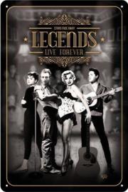 Legends Live Forever Metalen wandbord in reliëf 20 x 30 cm.