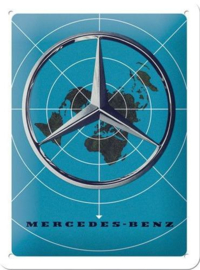 Mercedes-Benz Mercedes Blue Map Metalen wandbord in reliëf 15 x 20 cm.
