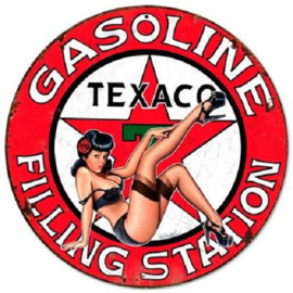 Texaco Gasoline Filling  Station Pin Up Stalen wandbord 35,5 cm rond.