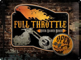 Full Throttle Open 24 Hours Metalen wandbord in reliëf 30 x 40 cm