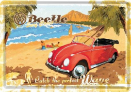 VW Beetle Surf Coast  Metalen Postcard 10 x 14 cm.