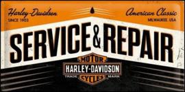 Harley Davidson Servise & Repair  Metalen wandbord in reliëf 25 x 50 cm