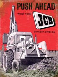 JCB Push Ahead.  Metalen wandbord 40 x 30 cm