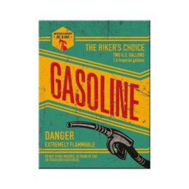 Biker's Choice Gasoline. Koelkastmagneet 8 cm x 6 cm.
