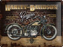 Harley Davidson Brick WallMetalen wandbord inrelief 40 x 30 cm