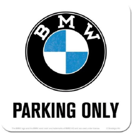 BMW Parking Only  Onderzetters 9 x 9 cm.   5 stuks.