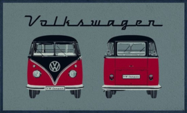 Volkswagen T1 Rood  Deurmat  50 X 75 cm.