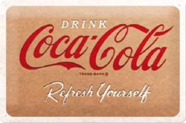 Coca Cola - Cardboard Logo.  Metalen wandbord in reliëf 20 x 30 cm.