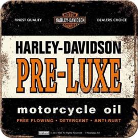 Harley Davidson Pre Luxe Motorcycle Oil.  Onderzetters 9 x 9 cm.  5 stuks.