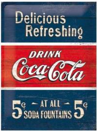 Coca Cola Dellicious Refreshing Metalen wandbord in reliëf 30x40 cm