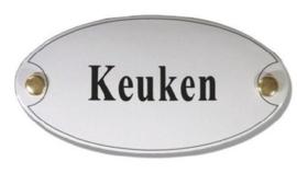 Keuken Emaille Naambordje 10 x 5 cm Ovaal