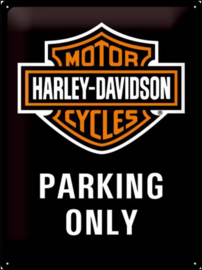 Harley Davidson Parking Only. Metalen wandbord in reliëf 40 x 30 cm.
