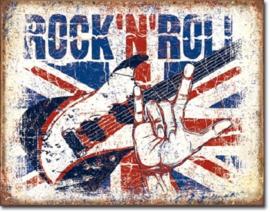 Rock n Roll.  Metalen wandbord 31,5 x 40,5 cm.