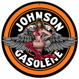 Johnson Gasoline  Pin Up 2.  Stalen wandbord 35,5 cm rond.