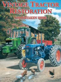 Vintage Tractor Restoration  Metalen wandbord 40 x 30 cm.