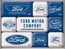Ford Logo Evolution Koelkastmagneten set a 9 st.