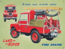 Land Rover Fire Engine Metalen wandbord 30 x 41 cm.