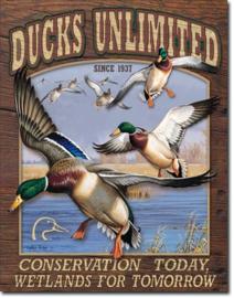 Ducks Conservation Today . Metalen wandbord 31,5 x 40,5 cm.