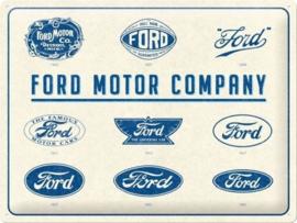 Ford Motor Company.  Metalen wandbord in reliëf 30 x 40 cm.