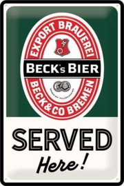 Beck's Bier Served Here.   Metalen wandbord in reliëf 20 x 30 cm.