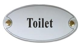Toilet Emaille Naambordje 10 x 5 cm Ovaal