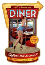 All American Diner.  Metalen wandbord 44 x 30 cm.