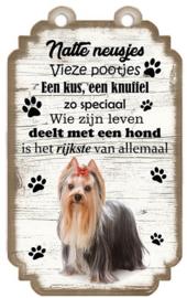 York. Houten tekstbordje met hond 20 x 12 cm.