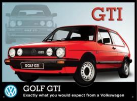 Golf GTI Rood Metalen wandbord 30 x 40 cm.