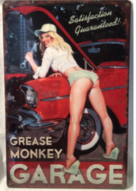 Grease Monkey Garage. Metalen wandbord 44,5 x 29,5 cm.