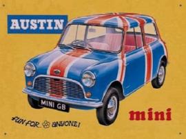 Austin Mini Metalen wandbord 40 x 30 cm.