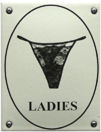 Ladies String Emaille Toiletbordje 10 x 14 cm.