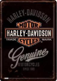 Harley Davidson Genuine Metalen Postcard 10 x 14 cm.