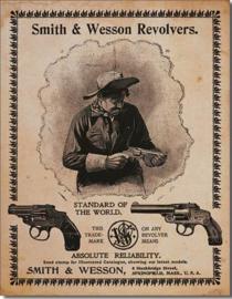 Smith & Wesson Revolvers 2 Metalen wandbord 31,5 x 40,5 cm.
