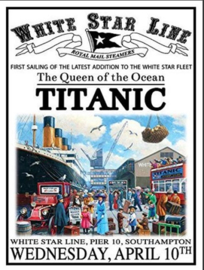 Titanic The Queen Metalen wandbord 30 x 40 cm.