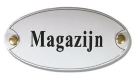 Magazijn Emaille Naambordje 10 x 5 cm Ovaal