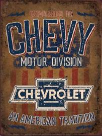 Chevy Motor Division Metalen wandbord 31,5 x 40,5 cm.