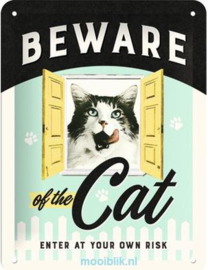 Beware of the Cat Metalen wandbord in reliëf 15x20 cm