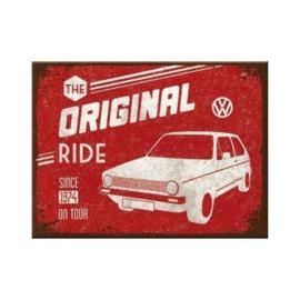 VW Golf The Original Ride. Koelkastmagneet 8 cm x 6 cm.