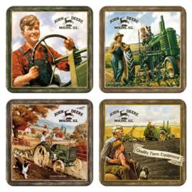 John Deere  Onderzetters 9 x 9 cm. (1)  4 stuks.