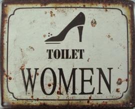Toilet Women..  Metalen wandbord 20 x 25 cm.